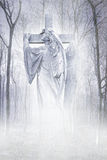 Crucifix Forest Angel Stock Image