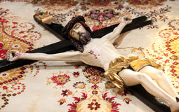 The crucifix in front of God`s tomb, exhibited for veneration in Zagreb cathedral Royalty Free Stock Photos
