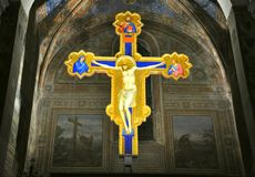 Crucifix of Giotto in an Italian church stock photography