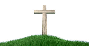 Crucifix On A Grassy Hill Isolated Royalty Free Stock Images