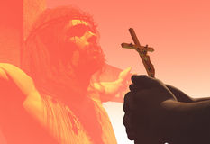 Crucifix. In hand over Jesus royalty free illustration