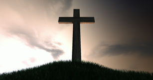 Crucifix On A Hill At Dawn. A dramatic silhouette of a wooden crucifix on top of a grassy hill on a warm sunrise morning stock illustration