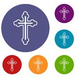 Crucifix icons set. In flat circle reb, blue and green color for web Stock Images