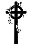Crucifix and ivy. Vector illustration of crucifix and ivy in black and white Stock Photography