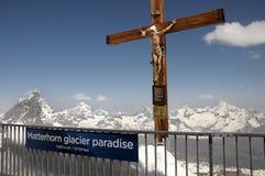 Crucifix on Klein Matterhorn cable car station. With Matterhorn Royalty Free Stock Photo