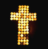 Crucifix made of Candles Royalty Free Stock Photos