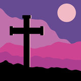 Crucifix and Moon. A symbolic view of the Crucifix on the Golgotha mountains with the moon in the sky Stock Images