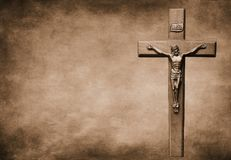 Free Crucifix On Large Sepia Toned Background Stock Photography - 139120352