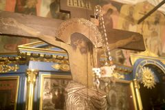 Crucifix in orthodox church royalty free stock photo
