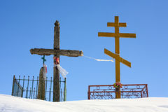 Crucifix and orthodox cross. Royalty Free Stock Photo