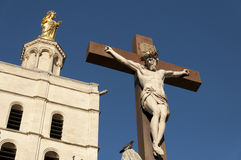 Crucifix at the Palace of the popes Stock Photo