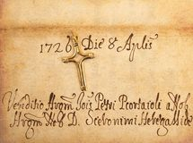 Crucifix on parchment. Crucifix on old vintage parchment Royalty Free Stock Images