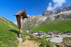 Crucifix in Pordoi pass Royalty Free Stock Photos
