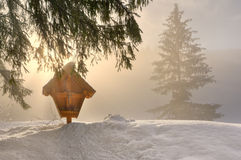 Crucifix. Roadside crosses a misty winter morning Royalty Free Stock Image