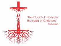 Crucifix, roots and phrase. Christian symbol. stock illustration