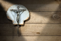 Crucifix on a Scallop Shell - Pilgrimage Symbol Stock Photography
