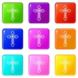 Crucifix set 9. Crucifix icons of 9 color set isolated vector illustration Stock Photography