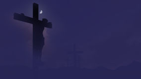 Crucifix silhouette set against a dramatic sky. Royalty Free Stock Image