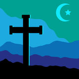 Crucifix, Star and Moon. A symbolic view of the Crucifix on the Golgotha mountains with the crescent moon and a star in the sky as christian  and muslim symbol Royalty Free Stock Images