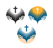 Crucifix symbol. Crucifixion of Jesus Christ icons. Church logo Stock Photo