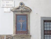 Crucifix in via de Marsili Stock Photography