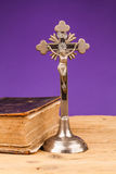Crucifix  on wooden table Stock Image