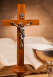 Crucifix  on wooden table Royalty Free Stock Photography
