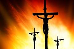 Crucifixión del Calvary Foto de archivo libre de regalías