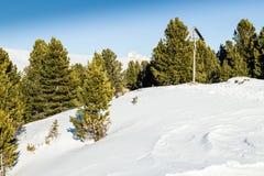 crucifixión Madera-tallada con el fondo de picos coronados de nieve y Fotografía de archivo
