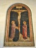 Crucifixión con St Dominic Fotos de archivo