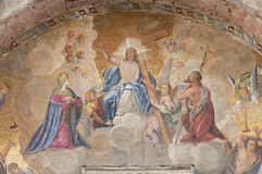 Crucifixion. The Crucifixion of Jesus in mosaic from the outside of the Cathedral San Marco in Venice, Italy Royalty Free Stock Images
