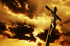 Crucifixion. Of Jesus Christ with dramatic sky in background Royalty Free Stock Photos
