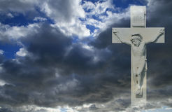 Crucifixion. White cross and crucifixion scene against sombre dark clouds stock illustration