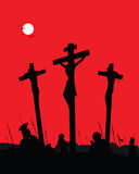 Crucifixion. Contrast scene with three crosses. Vector illustration Stock Photos