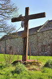 Crucifixion art, Lanercost, Cumbria. A stark, modern artwork of the crucifixion of Christ, by local artist Ian Mcmean, at the historic Lanercost priory, in Royalty Free Stock Photo