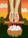 Crucifixion with basket of eggs Stock Photography