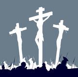 Crucifixion calvary scene in black and white Stock Image