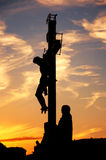 Crucifixion on Charles Bridge in Prague Stock Image