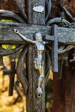 Hill of Crosses in Siauliai, Lithuania. The Crucifixion of Chris at the Hill of Crosses in Siauliai, Lithuania. Hill of Crosses is a unique monument of history Stock Photos