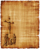 Crucifixion of Christ Parchment. An old worn parchment featuring the Crucifixion of Christ - digital image Royalty Free Stock Image