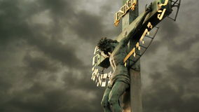 The Crucifixion. Christian cross with Jesus Christ crucified stock video footage
