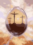 Crucifixion Easter egg vector Royalty Free Stock Images
