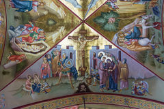 Crucifixion Fresco on Tabor. Fresco of the Crucifixion in Greek orthodox monastery of the Transfiguration of the Lord on Mount Tabor, Israel stock photo
