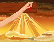 Crucifixion - hand of Jesus nailed to the Cross Royalty Free Stock Images