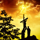 Crucifixion of Jesus Christ. With dramatic sky in background Stock Image