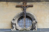 Crucifixion of Jesus Christ on the building in Lvov Royalty Free Stock Photography