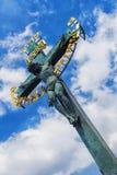 Crucifixion of Jesus Christ on Charles Bridge in Prague Royalty Free Stock Photos