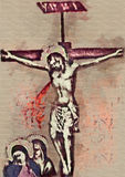Crucifixion Jesus Christ. Contemporary art. Watercolor Stock Image