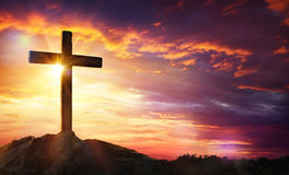 Crucifixion Of Jesus Christ. Cross At Sunset Royalty Free Stock Images