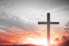 Crucifixion Of Jesus Christ - Cross At Sunset. Religion Christianity. cross silhouette against the backdrop of a beautiful sunset royalty free stock image